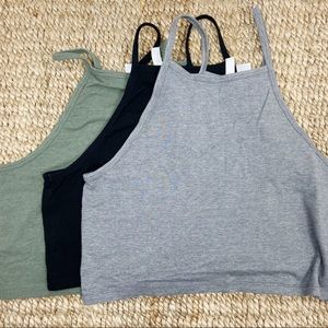 H&M Divided Crop top gray olive black Large L